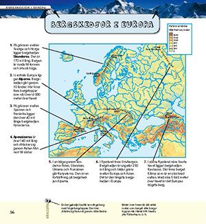 Karta Over Varldens Bergskedjor.Upptack Europa Liber